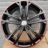 8M15VW-5287 VOLKSWAGEN 18 inch Golf GTI Machined Face Gloss Black Red Rim : SIZE:18X7.5, PCD:5X112B, ET:+49, CB:57.1, FINISH:GLOSS BLACK RED RIM